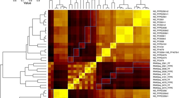 RNA-Seq of FFPE diagnostic tumor samples strongly correlated with matched frozen tumor samples