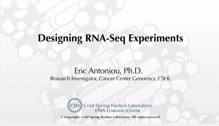 Designing RNA-Seq experiments